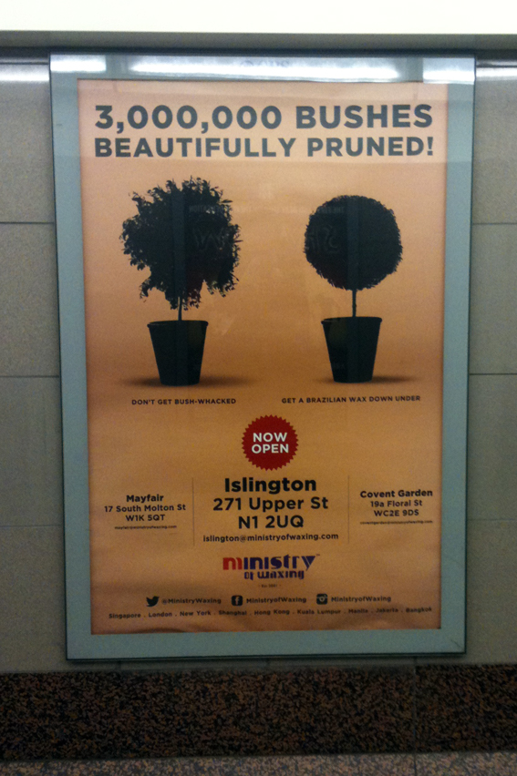 Advert for waxing like clipping box hedge