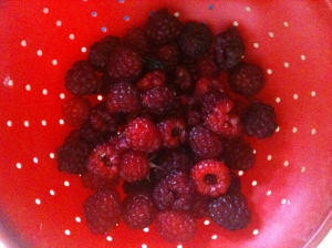 Raspberries in Red Colander