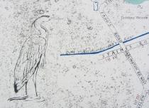 Heron on Duke's River sign