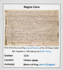 Fragment of Magna Carta embroidered
