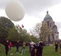 Ella Good and Nicki Kent launch a weather balloon at Williamson Park, Lancaster