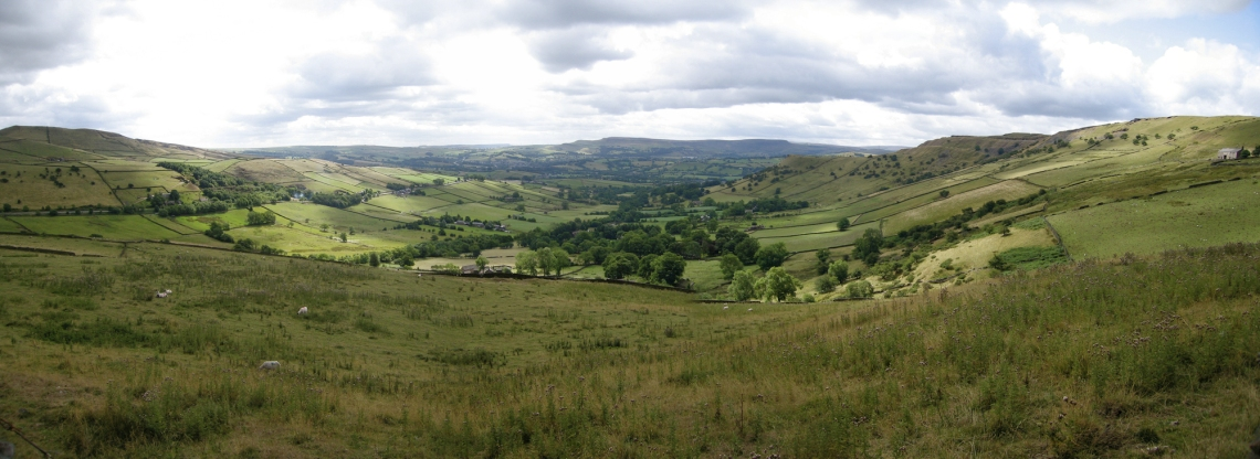 A High Peak panorama between Hayfield and Chinley. https://en.wikipedia.org/wiki/Peak_District#/media/File:Near_the_High_Peak_-_pano.jpg
