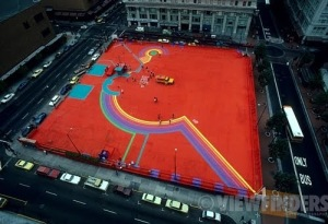 The process of Will Martin's colorful painted design of Pioneer Courthouse Square that gave the public a sense of what was to come